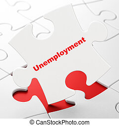 Business concept: Unemployment on puzzle background -...