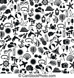 seamless pattern summer icons on white background