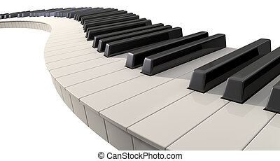 Curvy Piano Keys - A full set of regular piano keys laid out...
