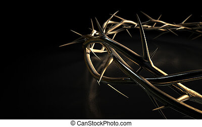 Crown Of Thorns Gold On Black - Branches of thorns made of...
