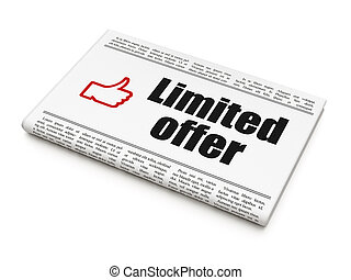 Finance concept: newspaper with Limited Offer and Thumb Up