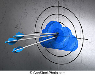 Cloud technology concept: arrows in Cloud target on wall...