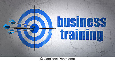 Education concept: target and Business Training on wall...