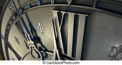 Macro Antique Clock Midnight - An extreme closeup of a...