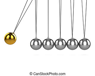 3d Gold hits silver - 3d render of a Newtons Cradle with...