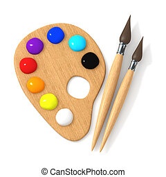 3d Artists palette and brushes