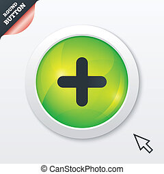 Plus sign icon. Positive symbol. Zoom in. Green shiny...