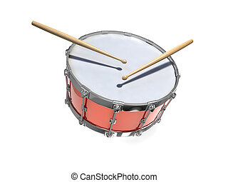3d Red snare drum and sticks - 3d render of a snare drum...