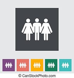 Group sex sign. Single flat icon. Vector illustration.