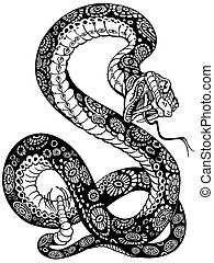 snake black white - snake with open mouth, black and white...