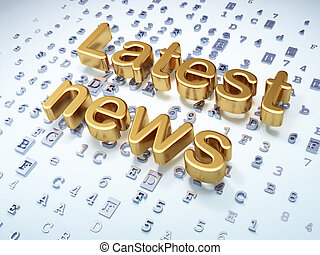 News concept: Golden Latest News on digital background, 3d...