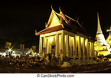 buddhist church in night time