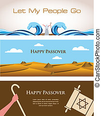 Three Banners of Passover Jewish Holiday- happy Pesach