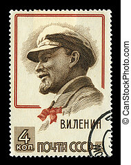 Stamp with Lenin - Lenin on a 1963 soviet stamp isolated