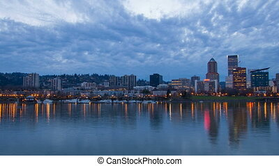 Portland Oregon Skyline Blue Hour - Portland Oregon Downtown...