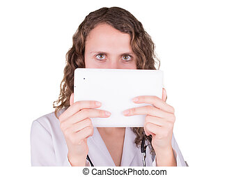beautiful female healthcare worker using tablet computer