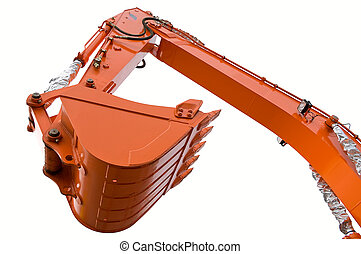 Orange clear excavator bucket beam isolated over white with...