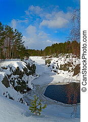 Snowy riverbed in the middle of the forest with open basin of water