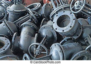 Heap of water shut-off valves big diameter Background