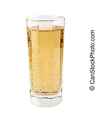 carbonated soft drink in a glass on a white background