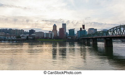 Portland Oregon Downtown Skyline along Willamette River with...