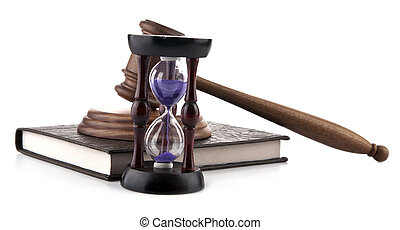 wooden hammer, the book and the hourglass
