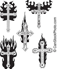 Crosses with flames. Set of black and white vector...
