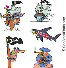 Pirate ships and sea Set of adventure vector illustrations
