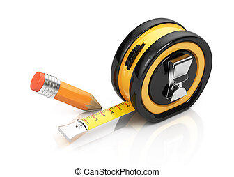 Tape measure and pencil isolated on white background. 3d...