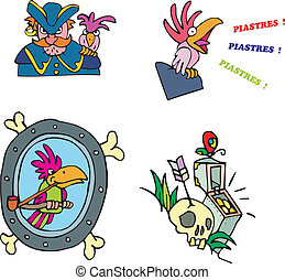 Pirate and parrot clipart Set of adventure vector...