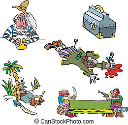 Pirate clipart Set of adventure vector illustrations