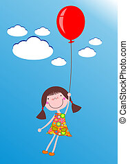 girl with balloon - Cute little cartoon girl flying with a...
