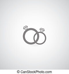 couple diamond engagement ring vector symbol