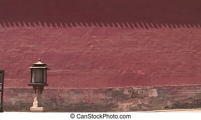 Red Wall Surrounding Forbidden City - Zoom in shot of an...