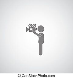 Photographers movie symbol on gray background