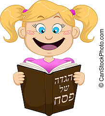 Girl Reading From Haggadah For Passover - Vector...