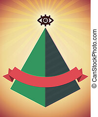 Retro poster with all seeing eye and pyramid - Retro styled...