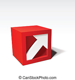 Infographic vector red 3D cube with arrow