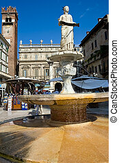 Verona - Fountain on Piazza Erbe, Verona, Italy