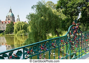 Bridge with love locks, New Town Hall, Hannover, Germany