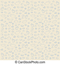 Seamless tea pattern with cake, teapots and cups