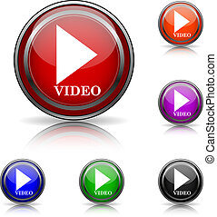 Video play icon - Shiny glossy colored icons - six colors...