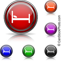 Hotel icon - Shiny glossy colored icons - six colors vector...