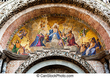 Judgement Day mosaic at St Marks in Venice - Mosaic at the...