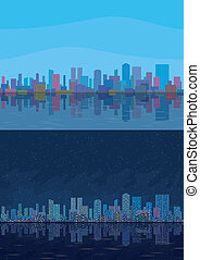 Night and day city landscape - Seamless urban background,...