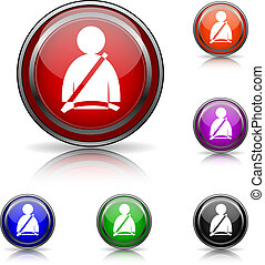 Safety belt icon - Shiny glossy colored icons - six colors...