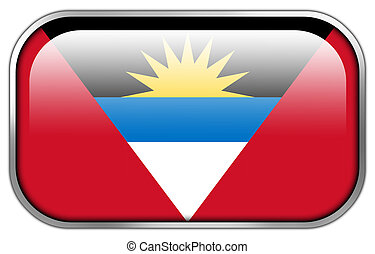 Antigua and Barbuda Flag rectangle glossy button