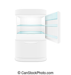Modern two door white refrigerator, isolated, vector...