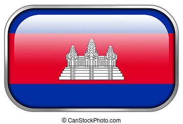 Cambodia Flag rectangle glossy button