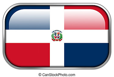 Dominican Republic Flag rectangle glossy button